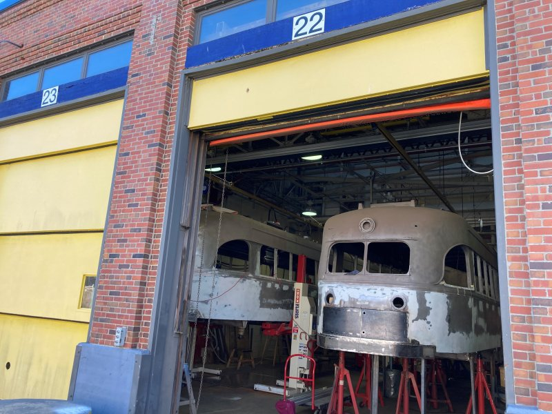 PHOTOS: Historic MBTA Trolleys Stripped Down in Warehouse