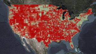 Map of broadband access in U.S.