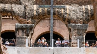 Visitors admire the newly restored lower level of the Colosseum