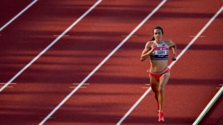 Abbey Cooper competes in the first heat of the women's 5000-meter run at the U.S. Olympic Track and Field Trials Friday, June 18, 2021, in Eugene, Ore.