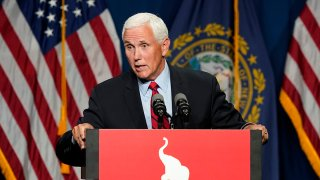 Former Vice President Mike Pence speaks at the annual Hillsborough County NH GOP Lincoln-Reagan Dinner, June 3, 2021, in Manchester, N.H.