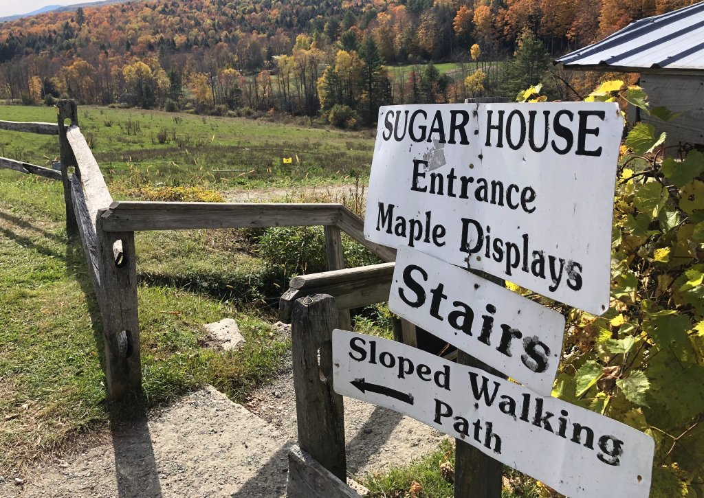 Sign at the entrance of sugar house in Woodstock, Vermont