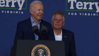 U.S. President Joe Biden speaks at a campaign event for Virginia gubernatorial candidate Terry McAuliffe (D-VA) at the Lubber Run Community Center on July 22, 2021 in Arlington, Virginia.