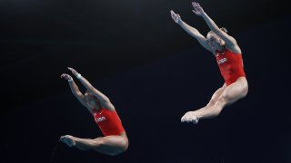 Delaney Schnell and Jessica Parratto earned the first United States Olympic medal in the women's synchronized platform competition