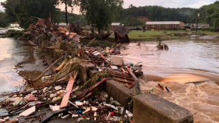 Flood damage in Waverly, Tennessee on August 21, 2021.