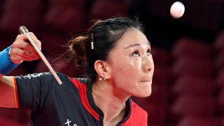 Germany's Xiaona Shan has her eye on the ball during a women's team quarterfinals table tennis match