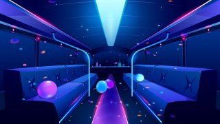 An illustration of the inside of a party bus