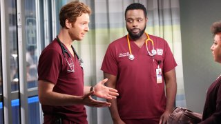 """CHICAGO MED -- """"Be The Change You Want To See"""" Episode 703 -- Pictured: (l-r) Nick Gehlfuss as Dr. Will Halstead, Guy Lockard as Dr. Dylan Scott --"""