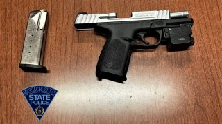 A gun found during a traffic stop on Route 3 in Billerica, Massachusetts