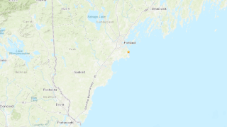 An earthquake map of a tremor that shook Maine Saturday, Sept. 25, 2021.