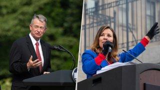 Left, Idaho Governor Brad Little, Idaho Lieutenant Governor Janice McGeachin
