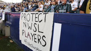 Signage supporting NWSL players