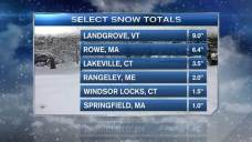 Total Snowfall Across New England; Some Snow Continues