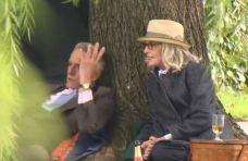 Diane Keaton, Jeremy Irons Spotted Filming In Boston Public Garden