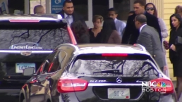 Hernandez Fiancee, Daughter, Arrive at Funeral
