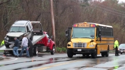 Car Strikes School Bus in Yarmouth, Massachusetts