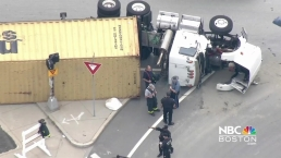 Tractor-Trailer Rolls Over in Boston