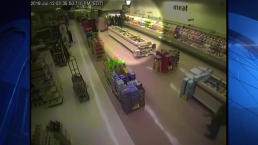 RAW VIDEO: Man Falls Through Ceiling Twice in Supermarket