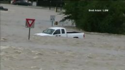 Truck Swept Away in Historic Flooding