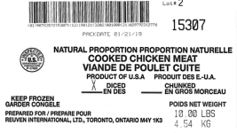 Listeria Risk Prompts Recall of 135K Lbs. of Frozen Chicken