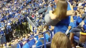 Dancing Kentucky Fan Drops Girl in Stands