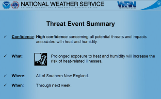 Heat Advisory for Southern New England Through Next Week