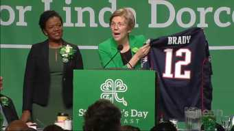 Sen. Warren Jokes About Brady Jersey, Trump's Hands