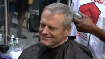 Governor Baker Shaves Head to Help Raise Money for Cancer