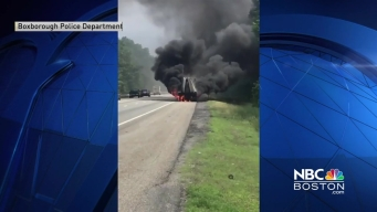 Car Catches Fire on I-495 in Boxborough, Mass.