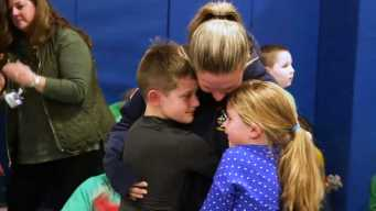 'Welcome Home!': Navy Mom Surprise Kids at School Assembly