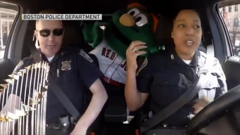 Boston Police Get Into Opening Day Spirit With Red Sox Mascot Wally