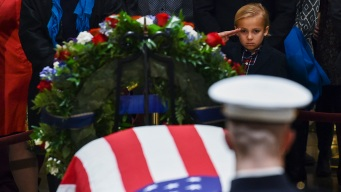Crowds Honor Bush for Long Service, From War to White House