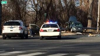Police Pursuit Ends in Crash; Suspect Still Sought