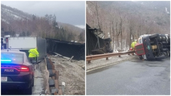 High Winds Blow Trucks Over on I-93 in NH