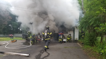 Fire Damages Garage with Hazardous Materials Inside: FD