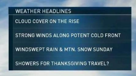 <p>Saturday: Clouds thicken. Showers late, becomes windy. Highs around 50.</p><p>Overnight Saturday Night: Downpours, windy. Temperatures in the 50s for most.</p><p>Sunday: Early rain, then clearing. Windy. Temperatures in the 50s early, 30s later.</p>