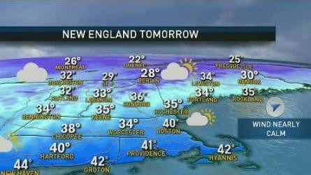 <p>Today (Saturday): Mostly sunny. Wind chills in the 30s. Highs in the mid to upper 40s.<br /> Tonight: Clear. Cold. Watch out for black ice. Lows in the 30s.<br /> Sunday: Clouds increase. Highs in the low 40s. </p>