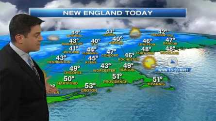Today: Mostly sunny, high in the 40s. Mountain snow showers ending. Wind from northwest 15-20 mph.  Tonight: Mostly clear, frosty, low in the 20 and 30s.  Tomorrow: Fading sunshine, high in the 40s