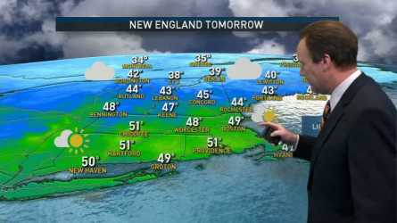 Friday night: Mostly cloudy, spot shower south. Lows in the 20s and 30s. Saturday: Mostly cloudy. Highs around 50. Sunday: Mostly cloudy, late shower. Highs in the 40s.