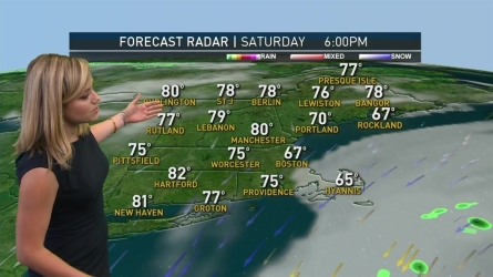 <p>Gray and misty start, giving way to a gradual clearing by the afternoon. Highs into the mid to upper 70s, 80s inland.</p><p>Overnight Saturday: Partly cloudy. Lows in the 60s.</p>