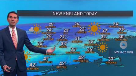 <p>Mostly sunny, breezy. Highs in the 30s. Monday night: Mostly clear, lows in the teens to near 20. Tuesday: Clouds increase, spot rain or snow shower south. Highs in the 30s.</p>