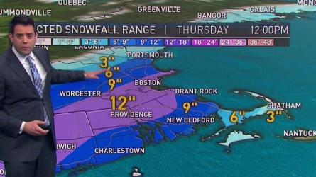 <p>Chilly sun to increasing clouds. Highs near 40.<br /> Overnight Tuesday: Mostly cloudy. Lows in the 20s.<br /> Wednesday: Snow expands across southern New England, gusty wind near the coast. Highs in the 30s.</p>