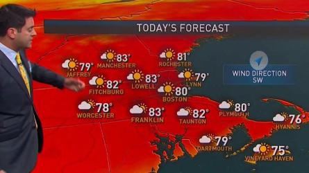 <p>Wednesday: Sun to wispy clouds. Highs in the 80s.<br /> Overnight Wednesday: South Coast showers. Lows around 60.<br /> Thursday: An early sprinkle to fair sky. Highs in the 70s.</p>