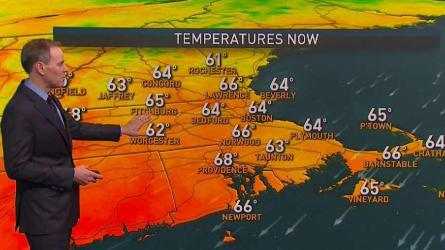 <p>Overnight Thursday: Mostly cloudy. Lows in the 50s.</p><p>Friday: Breezy, a bit milder, clouds and limited sun. Highs in the 70s.</p>