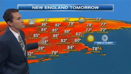 Saturday: Mostly sunny & becoming comfortable.  Highs near 80 along the coast, mid to upper 80s farther inland.  Saturday Night:  Mostly clear & calm with patchy fog possible.  Overnight lows dip into the lower 60s, upper 50s into northern New England.  Sunday: Another sun-filled day with a chance for showers late north.  Highs range into the low to mid 80s.