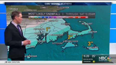 <p>Friday night: Pockets of light snow. 1-3&quot; accumulation in Southeastern New England. Lows in the teens. Saturday: Fair with a chilly breeze. Highs in the 30s. Sunday: Sun to clouds, night snow showers. Highs in the 30s.</p>