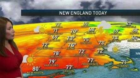 <p>Monday: Breaks of sun through clouds, scattered showers/downpours. Highs in the 70s. Overnight Monday: Clearing. Lows in the 50s. Tuesday: Mostly sunny. Highs near 80.</p>