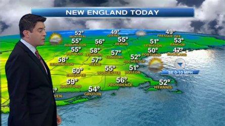 Today (Friday): Sun through high clouds. Cool. 50s coast, near 60 inland. ESE wind 5-15mph.  Tonight: Cloudy with a few showers possible in Connecticut and Southernmost Rhode Island. Lows in the 30s and 40s.   Tomorrow: Partly cloudy. 50s to near 60 with a southeast breeze.