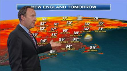Friday night: Hot or miss t'storms. Very warm and humid. Lows in the 70s. Saturday: A few showers and thunderstorms. Some storms could be strong. Hot and humid. Highs in the mid 90s. Sunday: Still warm, but less humid. Mostly sunny. Highs in the upper 80s.