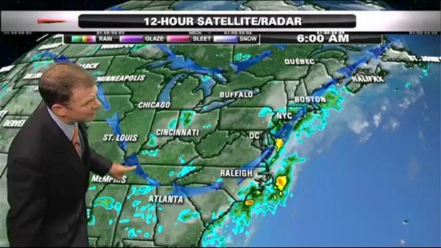 [NECN] Weather Forecast: Rain South, Mostly Dry North